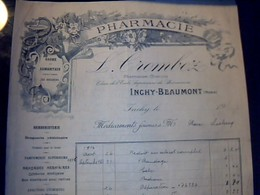 Facture PublicitairePHARMACIE CROMBEZ  Inchy Beaumont Annèe 19?? - Autres