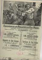 COMPAGNIE DE LAS HULLERAS DE UJO MIERES - CERTIFICAT DE 5 ACTIONS  DE 25 PESETAS ORO -1904 - Mines