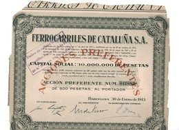 ACCION ANTIGUA - ACTION ANTIQUE = Ferrocarriles De Cataluña 1943 - Sin Clasificación