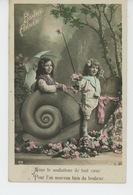 """ENFANTS - LITTLE GIRL - MAEDCHEN - Jolie Carte Fantaisie Enfants Sur Escargot De """"Bonne Année """" - Portraits"""