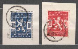 Czechoslovakia 1918 Scouts Post Mi#I And II Used On Piece - Oblitérés