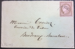 PL198 VARIÉTÉ T52 Sur Lettre Nancy Tache Blanche Sous Menton - 1871-1875 Ceres