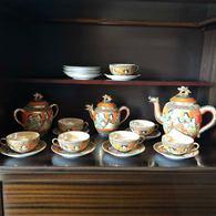 SERVICE A THE ANCIEN PORCELAINE JAPON Dragon Orange Années 1920 - Céramiques