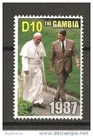 GAMBIA - 2005 Papa GIOVANNI PAOLO II Incontro Col Presidente Usa R. Reagan Nuovo** MNH - Papi