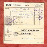 Paketkartenteil Fuer 3 Pakete, MiF Heinemann, Klausheide Nach Hamburg 1974 (69882) - BRD