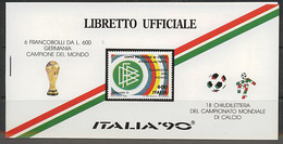 Italy, World Cup 1990, Overpints Surcharge Italia- Winner  In Booklet - Coupe Du Monde