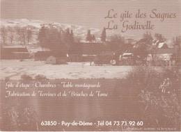 D1157 CARTE PUBLICITAIRE LE GITE DES SAGNES - LA GODIVELLE - PUY DE DÔME - TABLE MONTAGNARDE - CHAMBRES - GITE D'ETAPE - Advertising