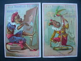 2 CHROMOS Lith J. Cheret : A LA NOUVELLE HELOISE : LES PETITS SINGES SAVANTS / Victorian Trade Card - Autres