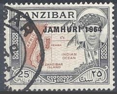 "Zanzibar, 1964 Map Ovpd ""JAMHURI 1964"", 25c # S.G. 418 - Michel 285 - Scott 289  USED - Zanzibar (1963-1968)"