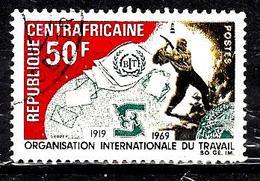 CENTRAFRIQUE 119° 50f Brun-noir, Vert-bleu Et Carmin Cinquantenaire De L'organisation Internatio (10% De La Cote + 0,15) - Centrafricaine (République)