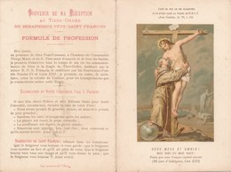 Carte Religieuse à 2 Volets Souvenir De Ma Réception Au Tiers Ordre De Saint François D'assise ( Imp. Lemercier Paris - Images Religieuses