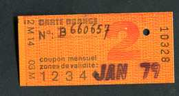 Ticket De Train, Métro Et Bus Pour Carte Orange 2ème Cl - 1979 - Paris - RATP / SNCF - Chemins De Fer