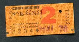 Ticket De Train, Métro Et Bus Pour Carte Orange 2ème Cl - 1978 - Paris - RATP / SNCF - Chemins De Fer