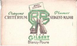 Crayon Critérium. Plume's Sergent Major. Gilbert Blanzy Poure. 1836 Ecrire Dessiner. - Buvards, Protège-cahiers Illustrés