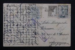 ESPAGNE - Censure Sur Carte Postale De Franco , Départ De Barcelone Pour Perpignan En 1941 - L 23655 - Marcas De Censura Nacional