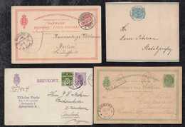 Dänemark Denmark Ca 1880-1924 4 Used Postal Stationery Used - Entiers Postaux