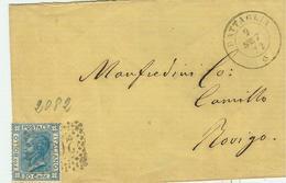 BATTAGLIA (PADOVA),DATARIO DIAMETRO PICCOLO ABBINATO AD ANNULLI NUMERALI RETTANGOLARI A PUNTI 2082,1872,per ROVIGO,RR - 1861-78 Vittorio Emanuele II