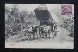 SINGAPOUR - Affranchissement De Singapour Sur Carte Postale ( Attelage ) En 1916 Pour La France - L 23658 - Singapore (...-1959)