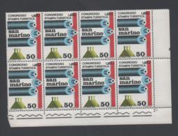 Francobolli S. Marino - Congresso Della Stampa Turistica 1973 - Lire 50 - Blocco Da 8 - San Marino