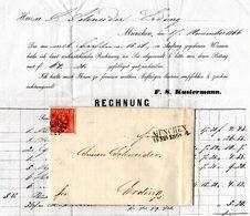 Bayern 1866, Voll-/breitrandige 3 Kr. Auf Brief V. München N. Erding - Bayern