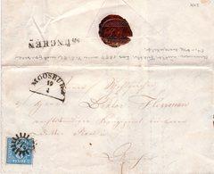 Bayern 1855, Allseits Sehr Breitrandige 3 Kr. Auf Brief M. MR 214 MOOSBURG - Bayern