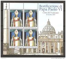 VATICANO - 2014 Beatificazione Di Papa PAOLO VI Foglietto Nuovo** MNH - Papi