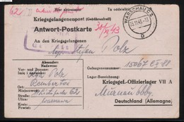 KRIEGSGEFANGENENPOST NAZI GERMANY THIRD REICH WW2 TO PRISONER OF WAR POW CAMP OFLAG VII A MURNAU AM STAFFELSEE - Allemagne