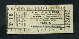 Rare ! Billet-amende - Années 70 - RATP - Métro - Indemnité Forfaitaire De 10,00 Fr - Paris - Titres De Transport