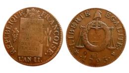 SOL à La Balance N°4 1793 BB (Strasbourg) Table De Loi Lisible FAUTEE Désaxée - 1789-1795 Monnaies Constitutionnelles