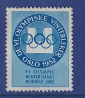 WINTER OLYMPIC GAMES JEUX OLYMPIQUES OLYMPISCHE WINTERSPIELE OSLO - NORWAY 1952 LABEL , CINDERELLA - Winter 1952: Oslo