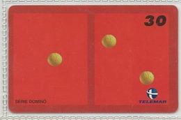 LSJP BRAZIL PHONECARD GAME DOMINO PIECE RED (1X2) TELEMAR - Brazil