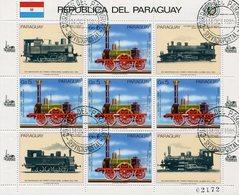 TRENES ALEMANES GERMAN TRAINS PARAGUAY AÑO 1985 YVERT & TELLIER 2182 OBLITERES BLOCK FEUILLET - LILHU - Trains