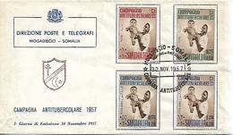 SOMALIA 1957 FDC  ANTI-TUBERCULAR CAMPAIGN FDC UNUSED - Somalie