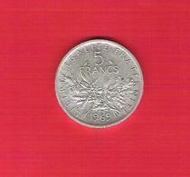 Une Pièce  5 Francs Argent Semeuse 1969 Bel état - France