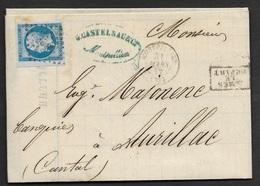 Herault-Lettre De Montpellier Pour Aurillac-N°14A - 1849-1876: Période Classique