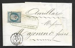 Herault-Lettre De Cette Pour Aurillac-PC 687 Sur N°14A - 1849-1876: Période Classique