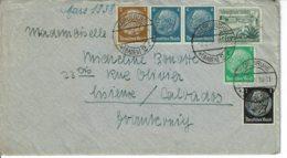 1938 - Lettre De KARLRUHE Pour La France (Lisieux) - Tp Yvert N° 483 + 484 + 485 + 486 + 597 - Germany