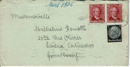 1936 - Lettre De KARLRUHE Pour La France (Lisieux) - Tp Yvert N° 483 + 563 - Allemagne