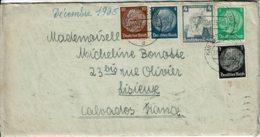 1935 - Lettre De KARLRUHE Pour La France (Lisieux) - Tp Yvert N° 483 + 485 + 486 + 489 + 548 - Allemagne
