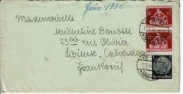 1938 - Lettre De KARLRUHE Pour La France (Lisieux) - Tp Yvert N° 483 + 575 - Allemagne