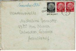 1936 - Lettre De KARLRUHE Pour La France (Lisieux) - Tp Yvert N° 441 + 448 - Deutschland