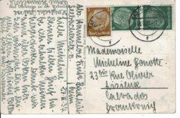 1937 - Carte Postale De BAD DÜRKHEIM Pour La France (Lisieux) - Tp Yvert N° 441 + 4452,5 - Allemagne