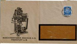 1935 - Lettre De FRANKFORT Pour La France - Tp Yvert N° 453 - Enveloppe Pliée - Publicité MASCHINENFABRIK MOENUS - Allemagne