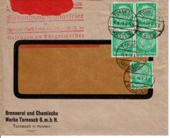 1934 - Lettre De TORNESCH Pour La France - Tp Yvert N°  444  (Enveloppe Mal Ouverte Partie Haute) - Allemagne