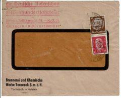 1934 - Lettre De TORNESCH Pour La France - Tp Yvert N°  405 + 447 - Allemagne