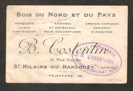Saint-Hilaire Du Harcouët ( 50 Manche ) Bois Du Nord Et Du Pays B. Costentin - Cartes De Visite