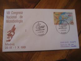MADRID 1981 Congreso Nacional Microbiologia Microbiology Cancel Cover SPAIN Microscope Science Optics Health Sante - Enfermedades