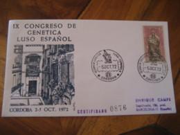 CORDOBA 1972 Congreso De Genetica Portugal Genetics Cancel Cover SPAIN Microscope Science Optics Health Sante - Enfermedades
