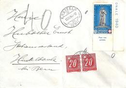 Taxierter Brief  Erstfeld -  Hindelbank  (Pro Patria Frankatur)         1940 - Suisse