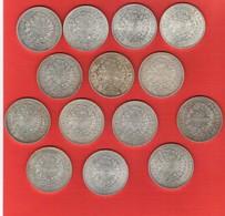 Lot De 14 Pièces 50 Francs Argent Hercule 420 Gr. - France